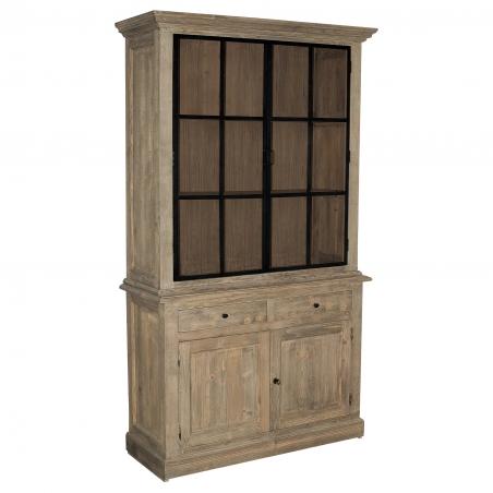 Dulap nordic din lemn brad cu usi metal si sticla 129 x 48 x 222 cm DISD087METAL1217