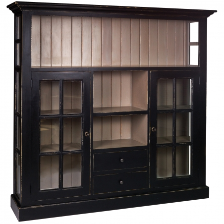 Biblioteca vintage din lemn brad cu usi sticla 167 x 38 x 158 cm DISD5821217
