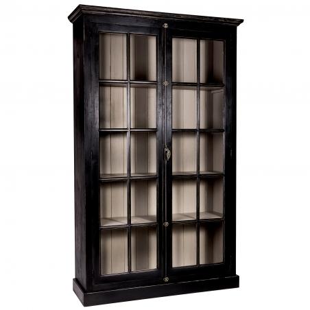 Biblioteca vintage din lemn brad cu usi sticla 136 x 44 x 222 cm DISD5541217