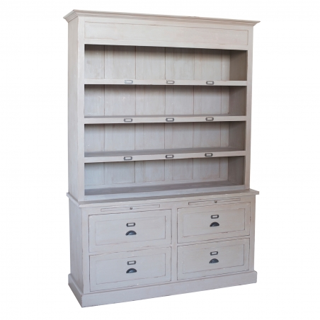 Dulap vintage din lemn brad cu rafturi si sertare 155 x 50 x 220 cm DISD6971217