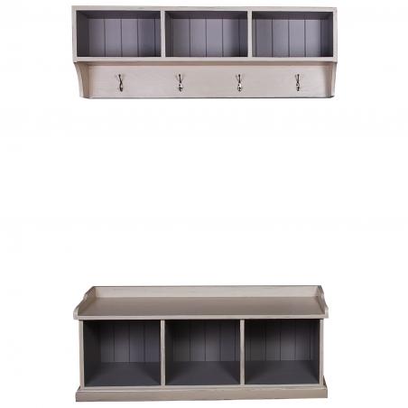 Mobilier hol din lemn brad cu rafturi 127 x 42 cm DISD5711217