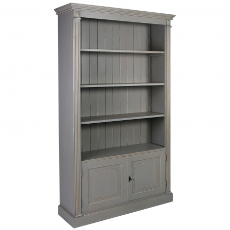 Biblioteca vintage din lemn brad cu usi 120 x 37 x 197 cm DISD2781217