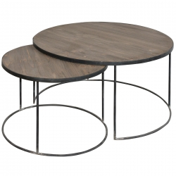 Set masute cafea din lemn brad si metal stil nordic 70x40 / 50x36 cm DISD7331217