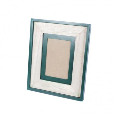 Cadru din lemn cu finisaj embosat verde/rama foto Trimar Stencil 20.5 x 20.5 cm